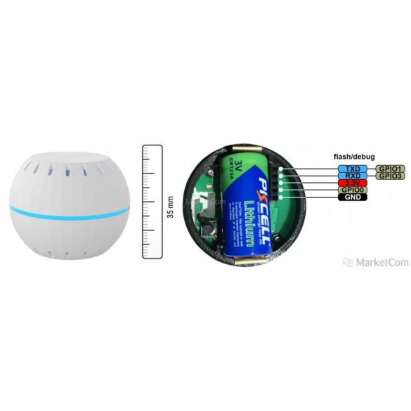 Shelly H&T Wi-Fi-s páratartalom és hőmérséklet szenzor (fehér)