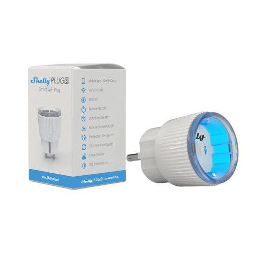 Shelly Plug S WiFi-s, interneten át vezérelhető okoskonnektor, fogyasztásmérővel