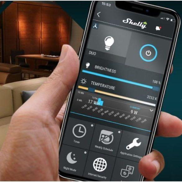 Shelly Duo (E27) WiFi-s, fénymelegség- és fényerő-szabályozható okosizzó