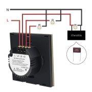 SmartWise T4 EU 3C WiFi+RF, távvezérelhető, érintős okos 3 áramkörös csillárkapcsoló (csak fázisvezetéket igényel)