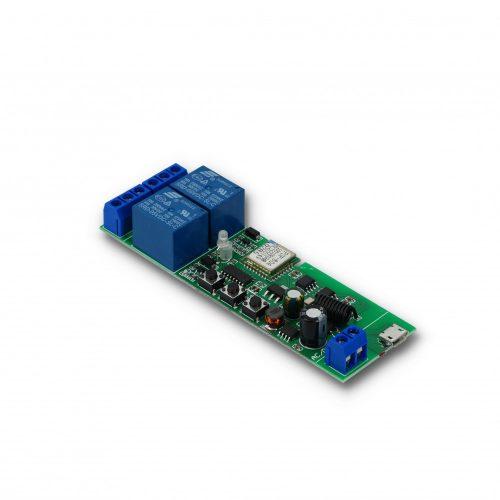 Smartwise 2 áramkörös 5V-32V WiFi + RF Sonoff kompatibilis okos kapocsló relé
