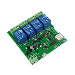 SmartWise 5V-32V négy áramkörös WiFi-s, Sonoff kompatibilis, távvezérelhető okos kapcsoló relé, kontakt kapcsolással és impulzus kapcsolási