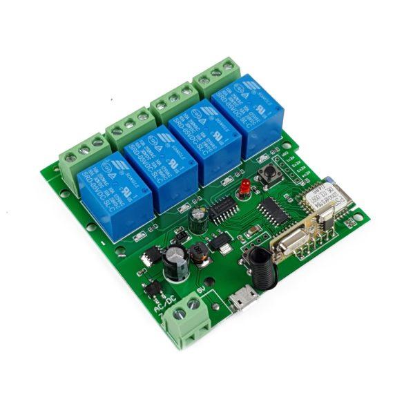 SmartWise 5V-32V négy áramkörös WiFi + RF-es, Sonoff kompatibilis, távvezérelhető okos kapcsoló relé, kontakt kapcsolással és impulzus kapcsolási üzemmóddal