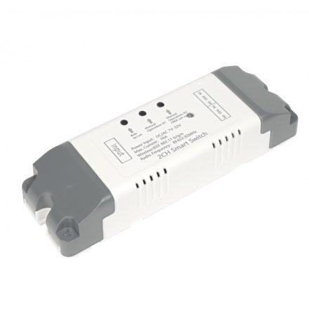 SmartWise 7V-32V két áramkörös, WiFi + RF NO/NC okosrelé, kontakt kapcsolással és impulzus üzemmóddal, védőtokban