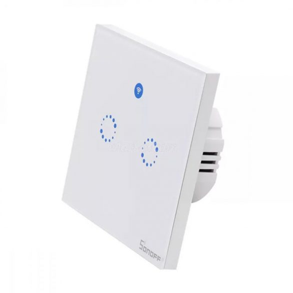 Sonoff T1 EU 2C WiFi + rádióvezérlésű, távvezérelhető, érintős kettős / csillár villanykapcsoló