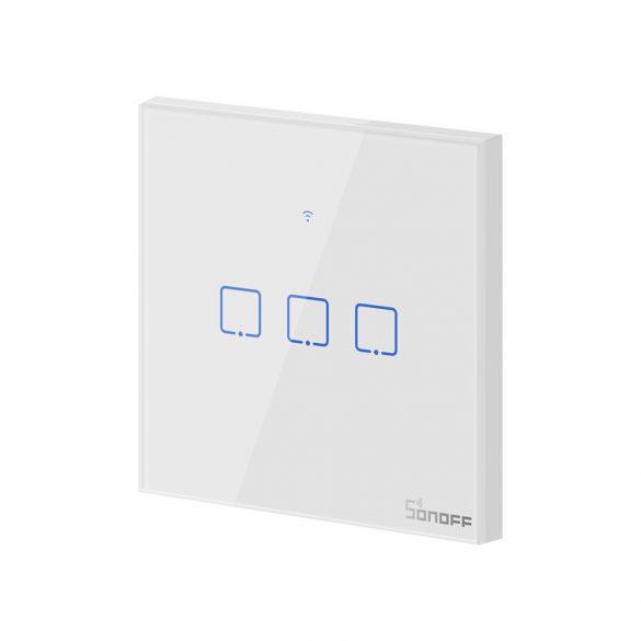 Sonoff TX T1 EU 3C WiFi + RF vezérlésű, távvezérelhető, érintős hármas csillár villanykapcsoló (fehér)
