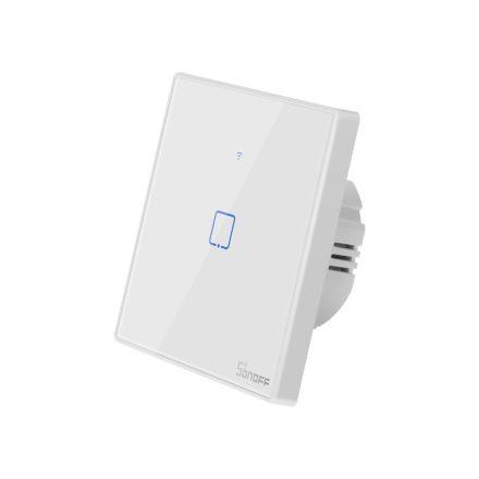 Sonoff TX T2 EU 1C WiFi + RF vezérlésű, távvezérelhető, érintős villanykapcsoló (fehér, kerettel)