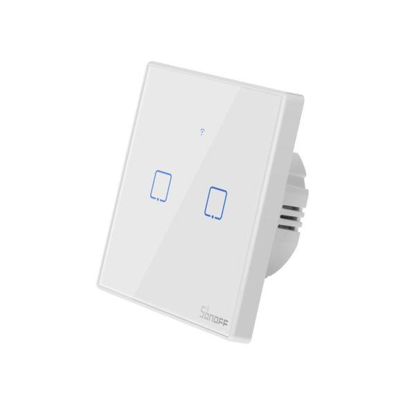 Sonoff TX T2 EU 2C WiFi + RF vezérlésű, távvezérelhető, érintős dupla/csillár villanykapcsoló (fehér, kerettel)