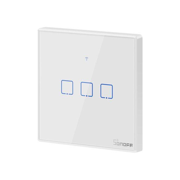 Sonoff TX T2 EU 3C WiFi + RF vezérlésű, távvezérelhető, érintős hármas csillár villanykapcsoló (fehér, kerettel)