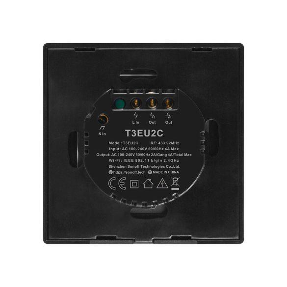 Sonoff TX T3 EU 1C WiFi + RF vezérlésű, távvezérelhető, érintős villanykapcsoló (fekete)