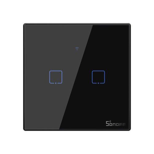 Sonoff TX T3 EU 2C WiFi + RF vezérlésű, távvezérelhető, érintős dupla/csillár villanykapcsoló (fekete)