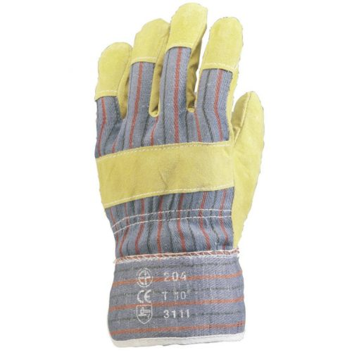 EP munkavédelmi bőrkesztyű, sárga marhahasíték/csíkos vászon,tenyérbélés 10-es