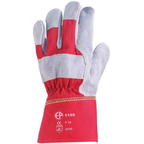 EP munkavédelmi bőrkesztyű, szürke marhahasíték/piros vászon kézhát