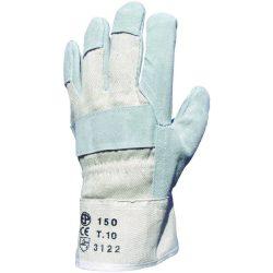EP munkavédelmi bőrkesztyű, szürke marhahasíték/fehér vászon kézhát 10-es
