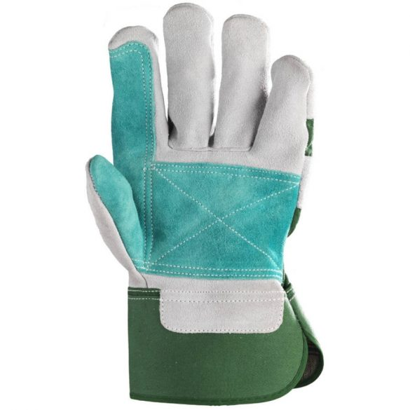 EP munkavédelmi bőrkesztyű, szürke hasíték, dupla bőr tenyér/zöld vászon 10-es