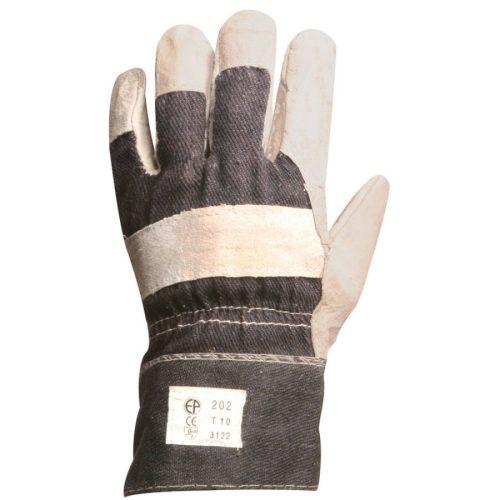 EP munkavédelmi bőrkesztyű, szürke marhahasíték/farmer kézhát,tenyérbélés 10-es