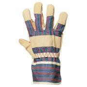 EP munkavédelmi bőrkesztyű, sárga színsertés/csíkos vászon kézhát 10-es