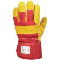 EP 330 munkavédelmi bőrkesztyű, téli, sárga marhahasíték/piros vászon, polár 10-es