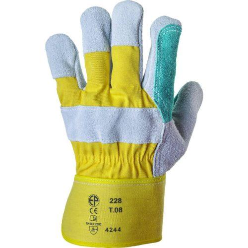 EP munkavédelmi bőrkesztyű, 4244, dupla hasítékbőr tenyér /sárga vászon