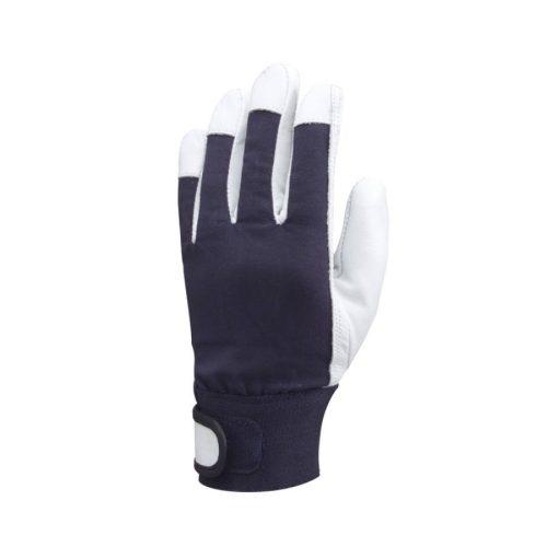 EP munkavédelmi bőrkesztyű, szürke színkecske/kék pamut, tépőzár
