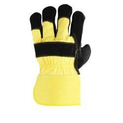 EP munkavédelmi bőrkesztyű, fekete marhahasíték/sárga vászon kézhát 10-es